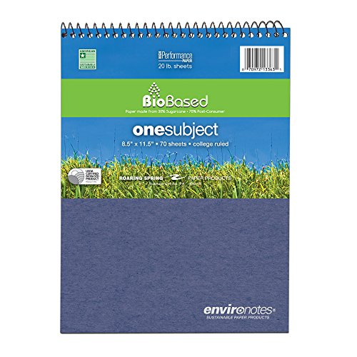"""Roaring Spring Environotes Notebook, Top Open, 8.5"""" x 11.5"""", 70 sheets, College Ruled, 20# BioBase Paper -  Roaring Spring Paper Products, 13363"""