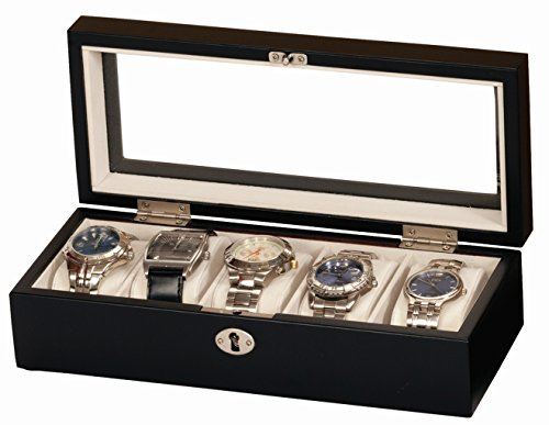Uhrenbox Alex Holz Uhrenschatulle Vitrine Uhr schwarz