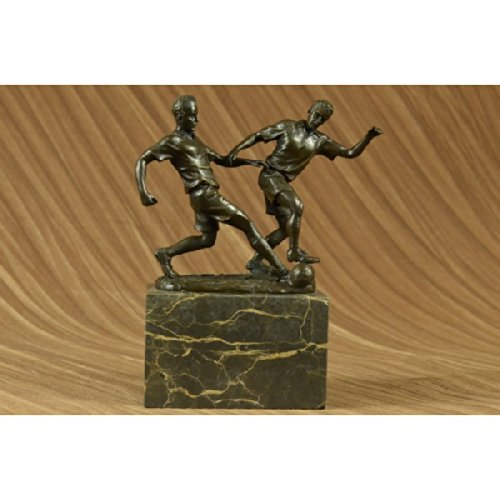 Charming Original Art Deco Two Soccer Player FIFA Bronze Sculpture Statue Figurine Figure by EUROPEAN BRONZE