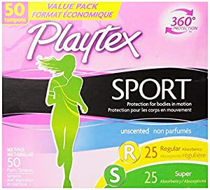Playtex Sport Tampons with Flex-Fit Technology Regular and Super Multi-Pack Unscented