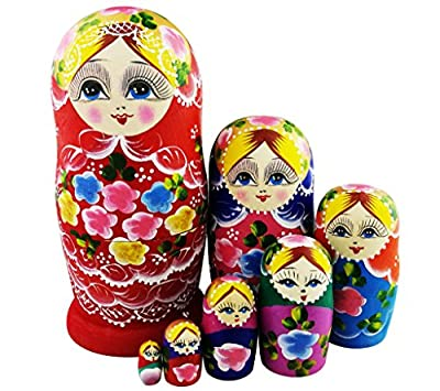 Cute Red Little Girl With Flowers Pattern Handmade Wooden Russian Nesting Dolls Matryoshka Dolls Set 7 Pieces For Kids Toy Birthday Christmas Gift Home Decoration