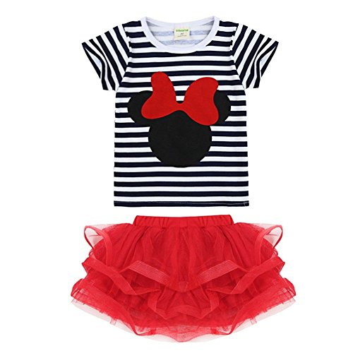 YiZYiF Baby Girl Minnie Mouse Bow T-Shirt Top Skirt/Pants Dress 2 Pieces Outfits Set (12-18 Months, Striped (Minnie Outfit)