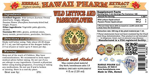 2-in-1! Wild Lettuce & Passion Flower Tincture, ORGANIC Wild Lettuce (Lactuca Virosa) & Passion Flower (Passiflora Incarnata) Liquid Extract, Hawaii Pharm trusted brand, 2x32 oz by Hawaii Pharm LLC (Image #1)
