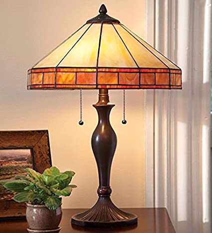 Beau Tiffany Style Stained Glass Mission Style Table Lamp