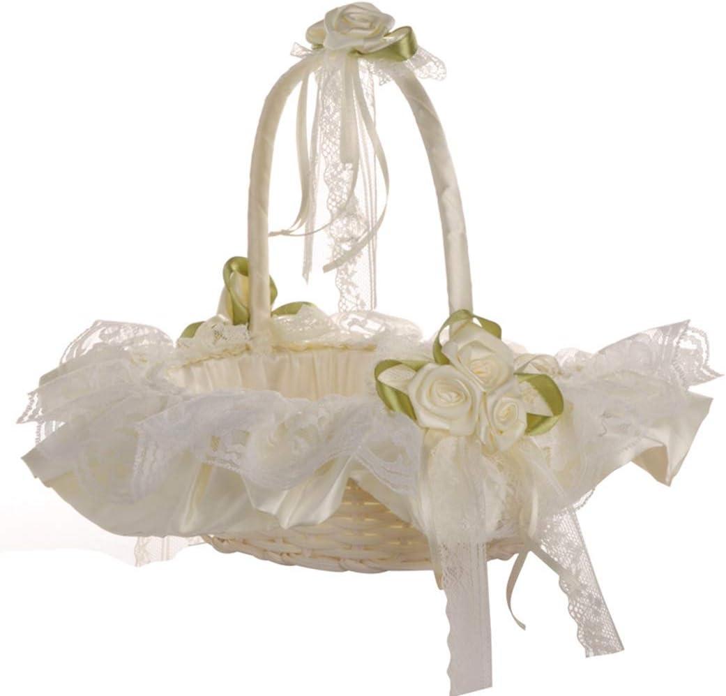 JUSTDOLIFE JUSTDOLIFE Wedding Flower Basket Lace Fashion Creative Multi-purpose Party Basket
