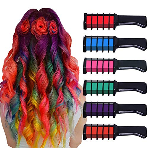 Chnaivy Hair Chalk, Temporary Bright Hair Chalk Comb Washable Hair Dye Perfect Gifts for Girls Kids Party, Cosplay, Christmas and Halloween DIY, 6 Colors (Children Hair Color)