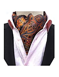 MENDENG Men's Paisley Jacquard Woven 100% Silk Self Cravat Necktie Formal Ascot