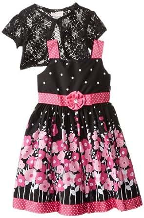 Youngland Little Girls' Border Print Dress with Shrug, Black/Fuchsia, 6x