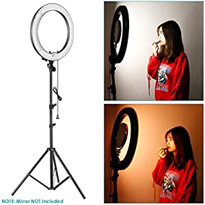 Neewer Photo Studio Dimmable Ring Light Lighting Kit: 18-inch Outer 14-inch Inner 75W 5500K Fluorescent Ring Light and 6.5 feet Metal Light Stand for Makeup Portrait Photography YouTube Video Shooting