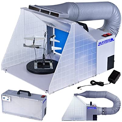 Master Airbrush Brand Portable Hobby Airbrush Spray Booth (without Optional LED Lighting) for Painting All Art, Cake, Craft, Hobby, Nails, T-shirts & More. Includes Our Exhaust Extension Hose That Extends up to 5.6 Feet.