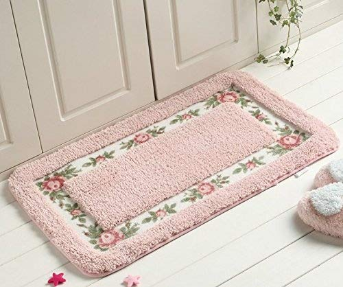 AnnyMart Pretty Floral Rural Style Romantic Rose Flower Rug Shaggy Area Rugs Soft Non-slip Doormat Floor Mat Bath Mat Bathroom Shower Rug Bedroom Living Room Carpet,40*60cm (Nice Pink) ()