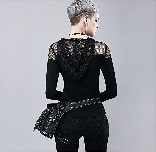 Black1 única multifunción para Bandolera Talla Bolso negro zhe Mujer Wei YOBZx