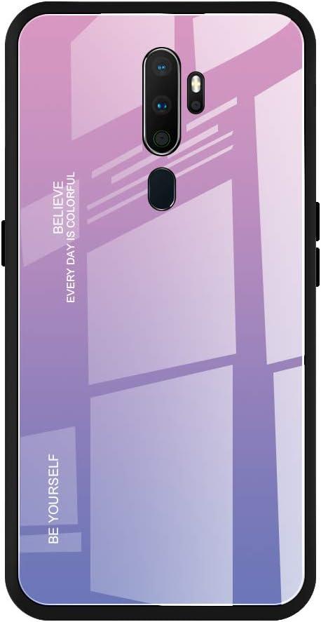 WUFONG Funda para OPPO A9 2020,Carcasa de teléfono móvil Anti-caída de Vidrio Ultrafino con Todo Incluido para Hombres y Mujeres-púrpura