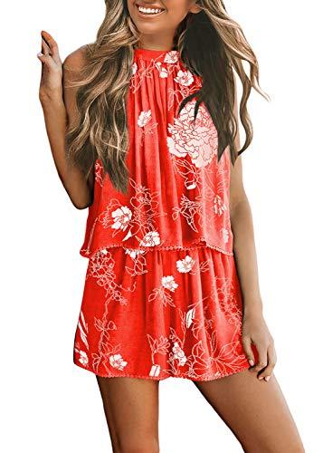 Asvivid Womens Short Jumpsuit Self Tie Cut Out Halter Vintage Floral Printed Print Loose Ladies Open Back Rompers Playsuit M Orange