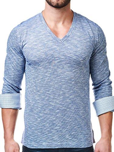 Maceoo Mens Designer V Neck - Stylish & Trendy T Shirt - Blue Color - Tailored - Designer Male