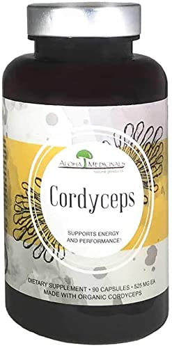 Aloha Medicinals – Pure Cordyceps – Certified Organic Mushrooms Cordyceps Militaris Cordyceps Sinensis – Supports Immunity, Energy and Stamina – 525mg – 90 Vegetarian Capsules