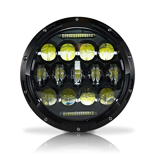 GENSSI 7 Inch Round LED Headlight 75W Multi-Beam Low/High w/DRL Black Housing (1 Lamp Only) - Round Housing