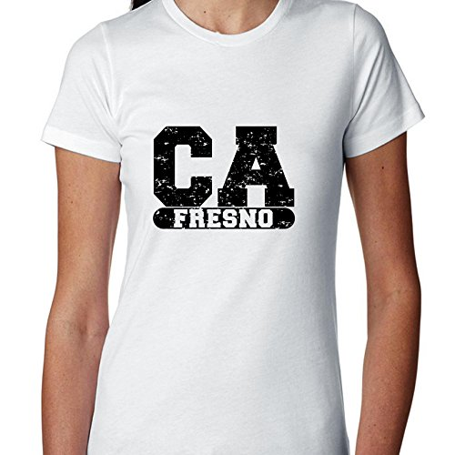 Fresno, California CA Classic City State Sign Women's Cotton T-Shirt (Party City Fresno Ca)