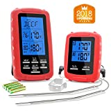 Best BBQ Meat Thermometer, Remote Wireless Digital Barbecue Thermometer with Timer Alarm Can Monitor the food Temperature within 230 Feet, Apply to Cooking, Kitchen, Grill, Smoker, Oven Thermometer