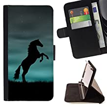Ihec-Tech / Flip Wallet Diary PU Leather Case Cover for Apple Iphone 5 / 5S - Horse Black Blue Powerful
