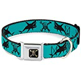 Dog Collar Seatbelt Buckle Pirates Skull Crossbones Sharks Turquoise Black 18 to 32 Inches 1.5 Inch Wide