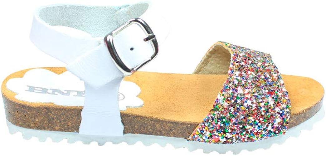 Sandalias de niña en Piel Blancas y Glitter Multicolor con Cierre de ...