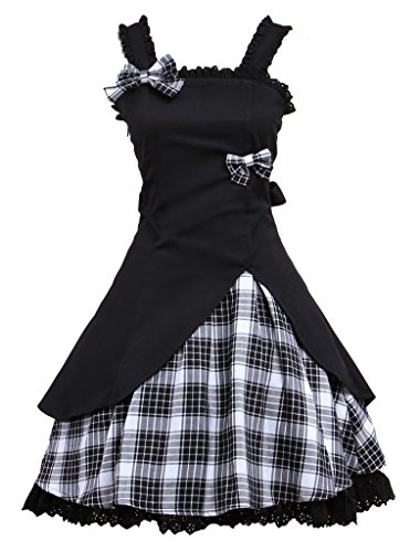 Hugme Classic Black Straps Neck Bow Cotton Lolita Jumper Skirt