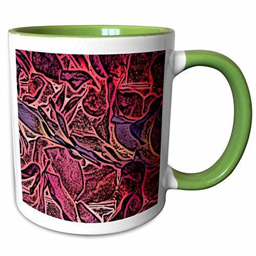 3dRose Susans Zoo Crew Flowers - dark lei pink abstract sketch - 15oz Two-Tone Green Mug (mug_186577_12) (Two Lei Tone Flower)