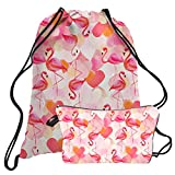TUONROAD Cute Drawstring Dance Bag Small Cinch Sack Hot Pattern Pink Flamingo Orange White Heart Shape Cosmetic and Toiletry Bags Gift for Girls Ladies Shopping Hiking Jogging