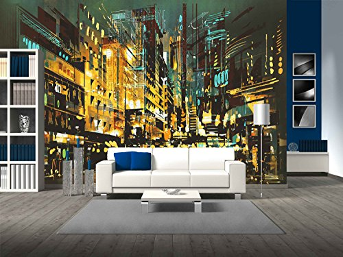 Cheap  wall26 - Night Scene Cityscape,Abstract Art Painting - Removable Wall Mural  ..