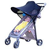 Stroller Sun Shade Canopy Extender - EleFox Universal Fit UPF 50+ UV Protection Stroller Cover for Baby Strollers - Child Safety Car Seats (Black - Velcro Strap)