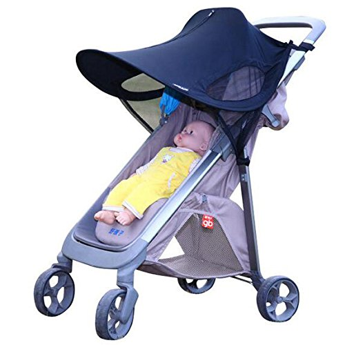 Stroller Sun Shade Canopy Extender, EleFox Universal Fit UPF 50+ UV Protection Stroller Cover for Baby Strollers, Child Safety Car Seats (Black, Velcro Strap) (Car Seat 50 Sunshade Upf)