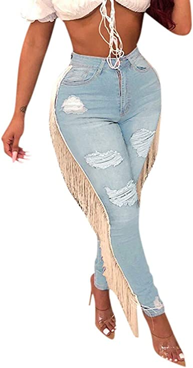 Kanpola Womens Plus Size Button High Loose Pocket Hole Pantalones Jeans Rectos Casual Denim Pantalones Anchos Amazon Es Ropa Y Accesorios