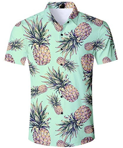 - TUONROAD Mens Boys 3D Printed Pineapple Bright Color Short Sleeve Shirt Tropical Shirts Button Down Shirt Casual Hawaiian Aloha Shirt, Pineapple