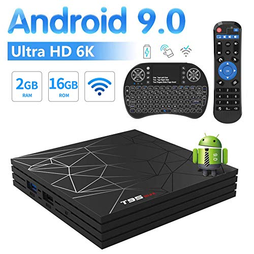 Android Box, T95 MAX Android TV Box 9.0 2GB RAM 16GB ROM Allwinner H6 Quad Core WiFi 2.4G Ethernet USB 3.0 Support Extra TF Card, Ultra 6K, H.265 with A Backlit Mini Keyboard