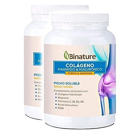 2x Colageno Magnesio y Ácido Hialurónico Bote Binature Sabor Vainilla 369g. Duplo