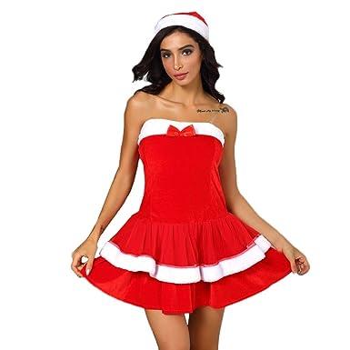 Disfraz de Navidad para mujer, sin mangas, vestido de bola con ...