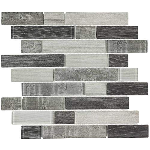 MTO0335 Modern Linear Gray Glossy Wood Grain Recycled Glass Mosaic Tile