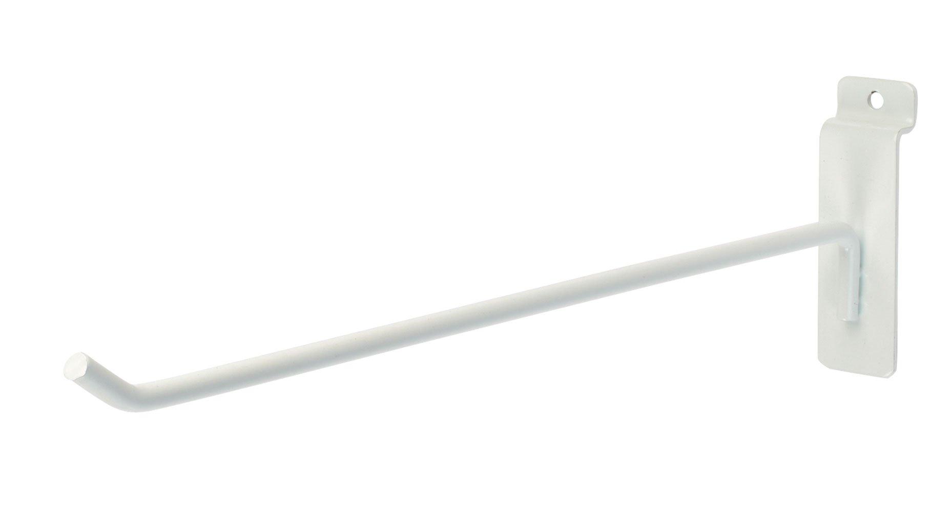 12 inch White Peg Hook for Slatwall - Pack of 50