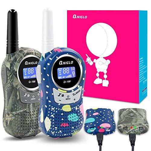 QNIGLO Walkie Talkies Kids Adults 22 Channel Long Range 2 Way Radio Rechargeable Walkie Talkies(Camo Green+Camo Blue,2 Packs)