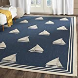 Cheap Safavieh Courtyard Collection CY7422-258A2 Navy and Beige Indoor/Outdoor Area Rug (4′ x 5'7″)