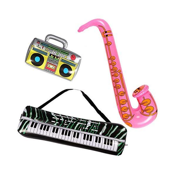 Lewo 22 Pack Chitarra Gonfiabile 6 Chitarre Gonfiabili, 6 Microfoni, 6 Vetri Dell'otturatore, 1 Radio, 1 Piano per Tastiera, 1 Sassofono e 1 Pompa 7 spesavip