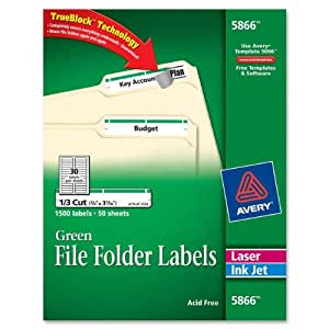 Avery® Green File Folder Labels for Laser and Inkjet Printers with  TrueBlockTM Technology, 2/3 inches x 3-7/16 inches, Box of 1500 (5866)