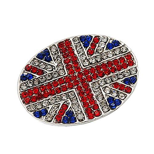 Bling Stars Union Jack Flag Brooch Crystal Rhinestone British Flag Brooch Pin Badge - Silver Union Jack