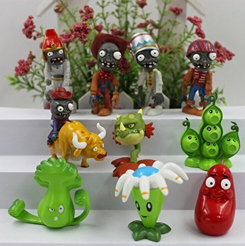 WAREHOUSEDEALS Inspired by Plants vs Zombies PVZ Cake Toppers Cupcake Figures Decorative Birthday Party - Pack 10pcs (Plants Vs Zombies All Plants And Zombies)