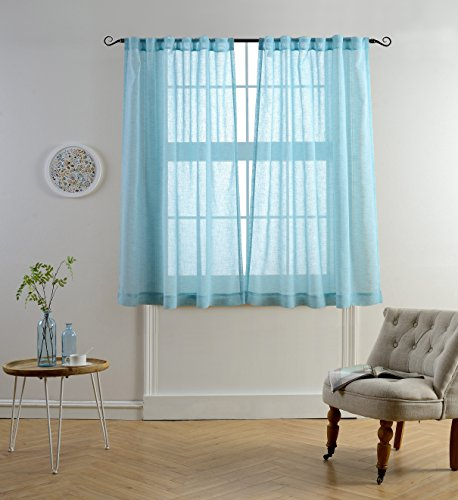 white and light blue curtains - 3