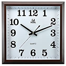 13.5 Inch Modern Non Ticking Silent Quartz Analog Digital Square Wall Clock (Brown)