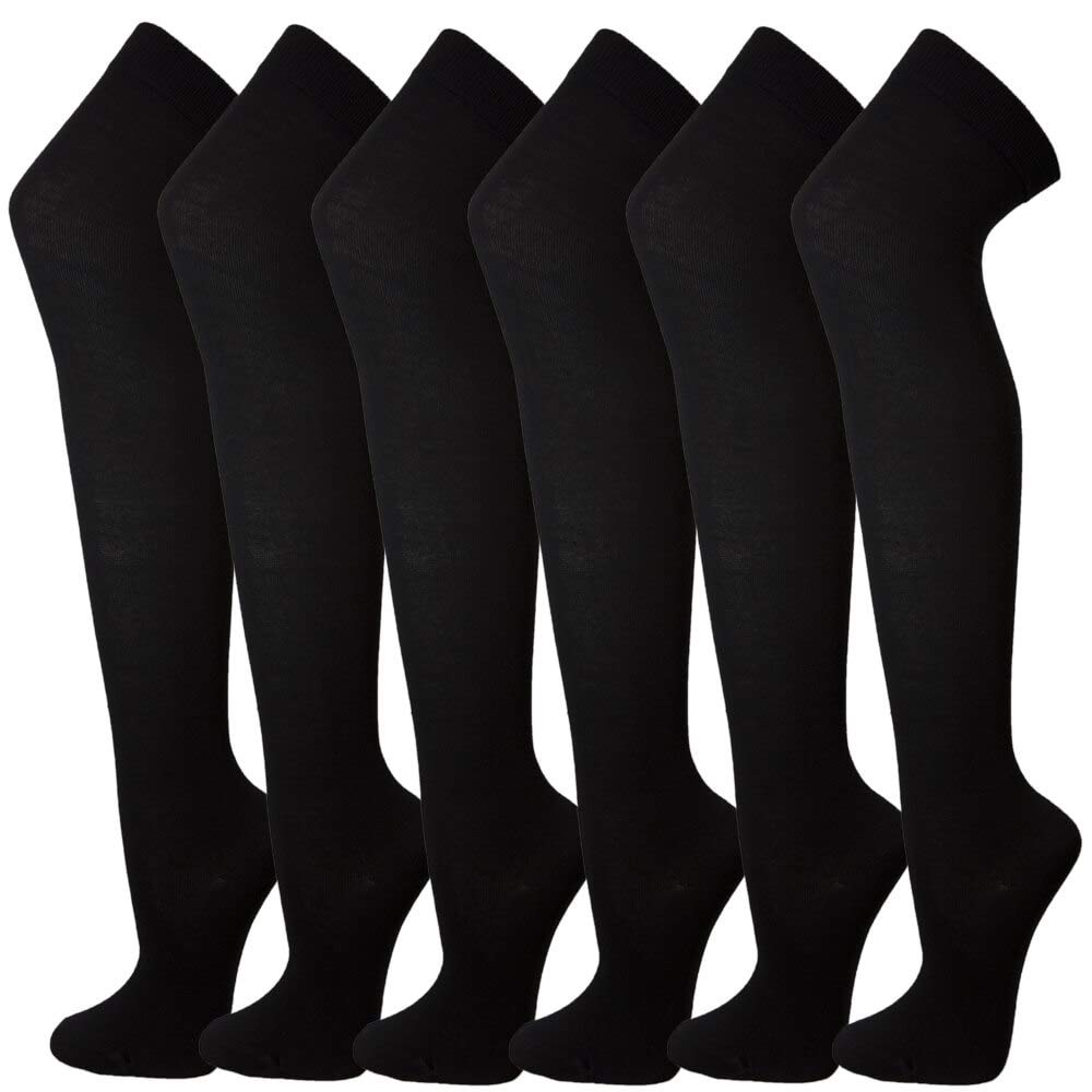 6 Pairs Over Knee High Socks Women Warm Dress Tube Stocking Cosplay Socks Thigh High Leg Warmer