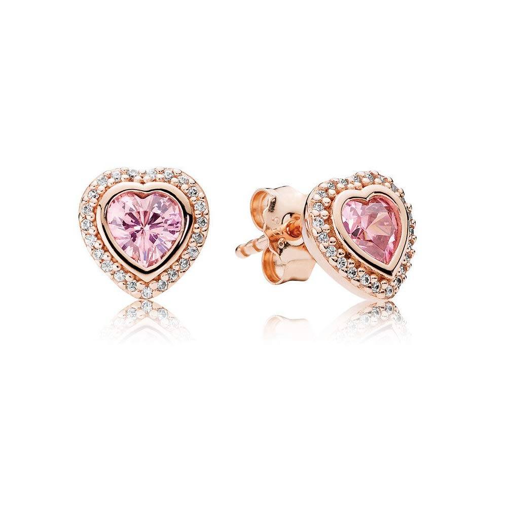 05229fee1 Amazon.com: Pandora Sparkling Love Rose Gold Stud Earrings with Pink &  Clear CZ 280568PCZ: Jewelry
