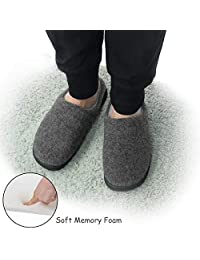 YOUKADA House Slippers for Men Breathable, Felt Sandal with Memory Foam, Anti-Slip Boy Shoes Indoor&Outdoor, Male Plush Slippers with Hard Sole